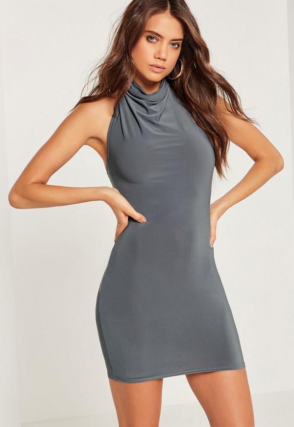 Halterneck Slinky Mini Dress Grey