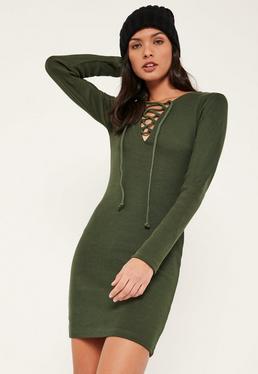 Robe côtelée vert kaki à lacets et manches longues
