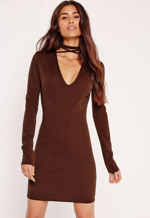 Tie Neck V Front Bodycon Dress Brown