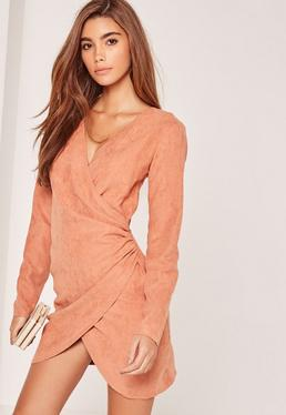 Pink Faux Suede T-Bar Twist Front Wrap Dress