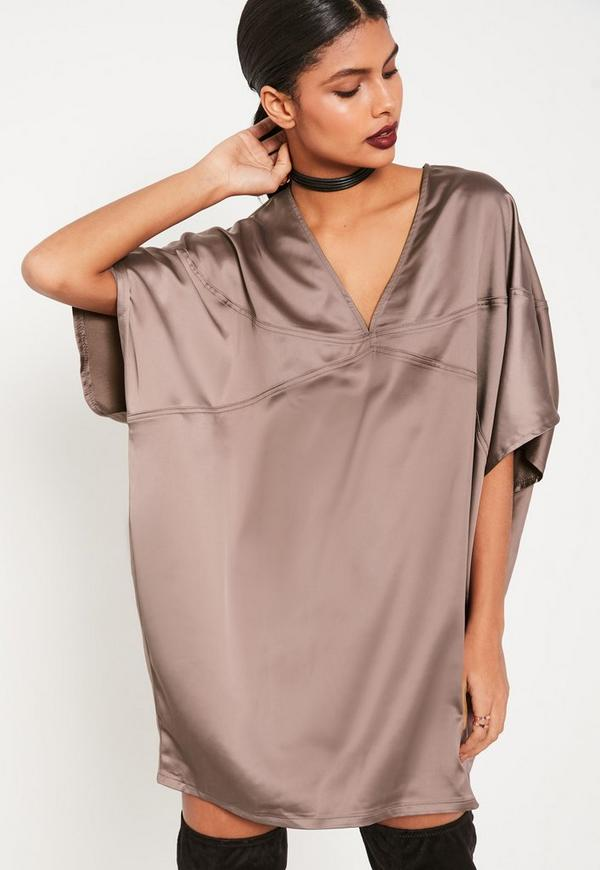 Panelled Oversized Satin Dress
