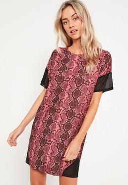Robe T-shirt rose imprimé serpent empiècements tulle