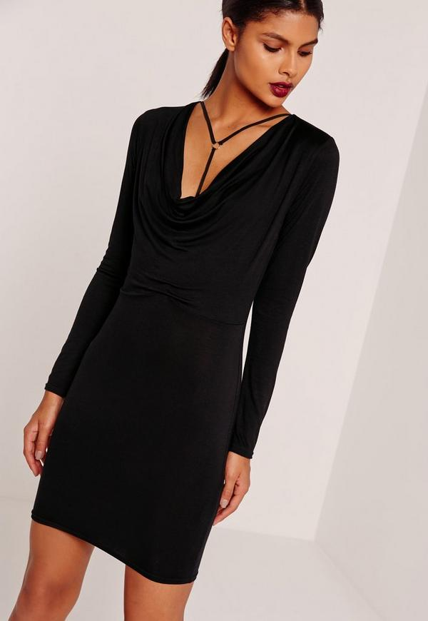 Cowl Neck Harness Bodycon Dress Black