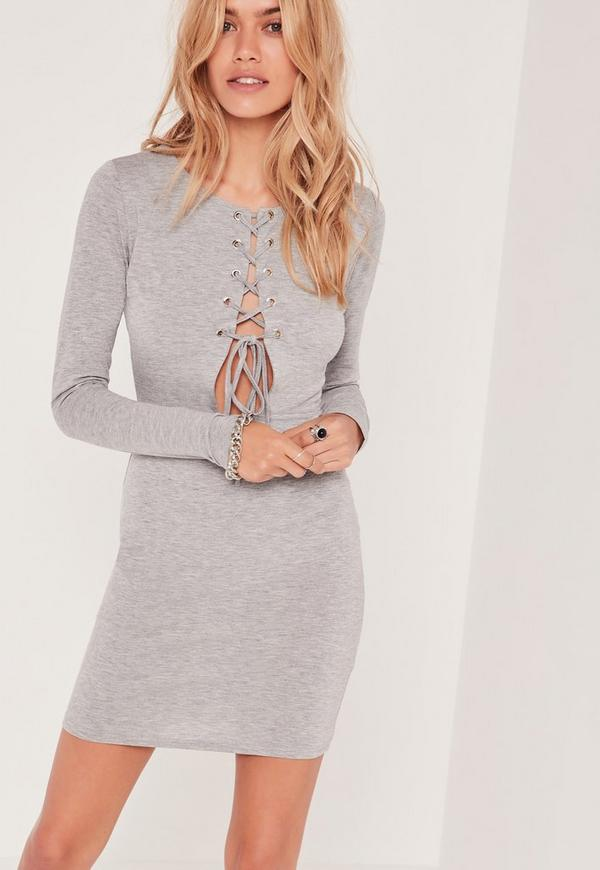Lace Up Open Front Bodycon Dress Grey
