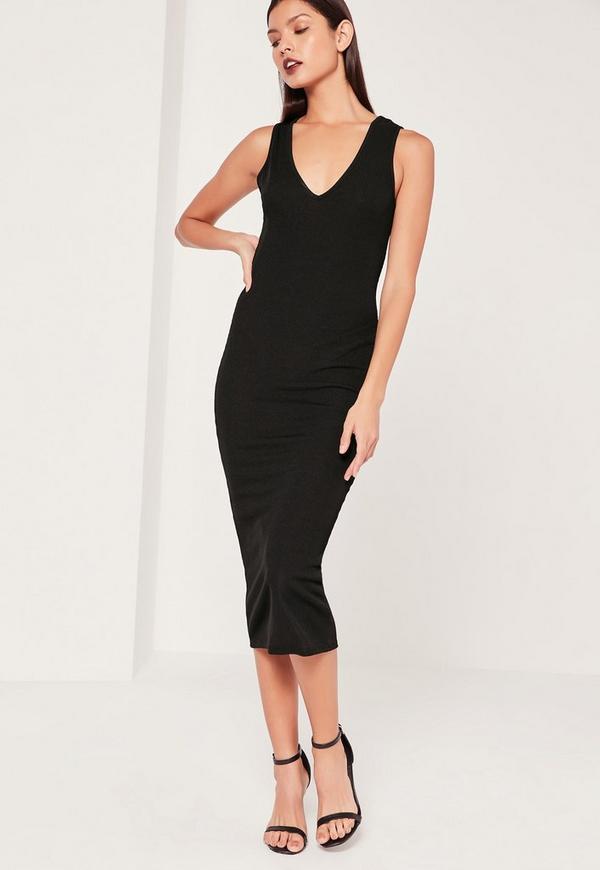 V Rib Midi Dress Black