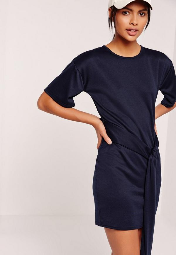 Tie Front Shift Dress Navy