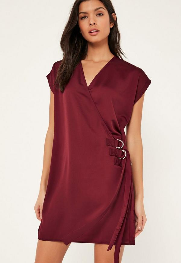 Burgundy D Ring Wrap Front Mini Dress