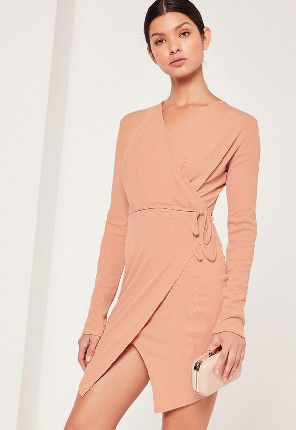 Wrap Front Rib Shift Dress Nude
