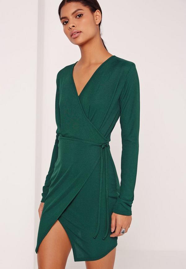 Wrap Front Rib Shift Dress Green