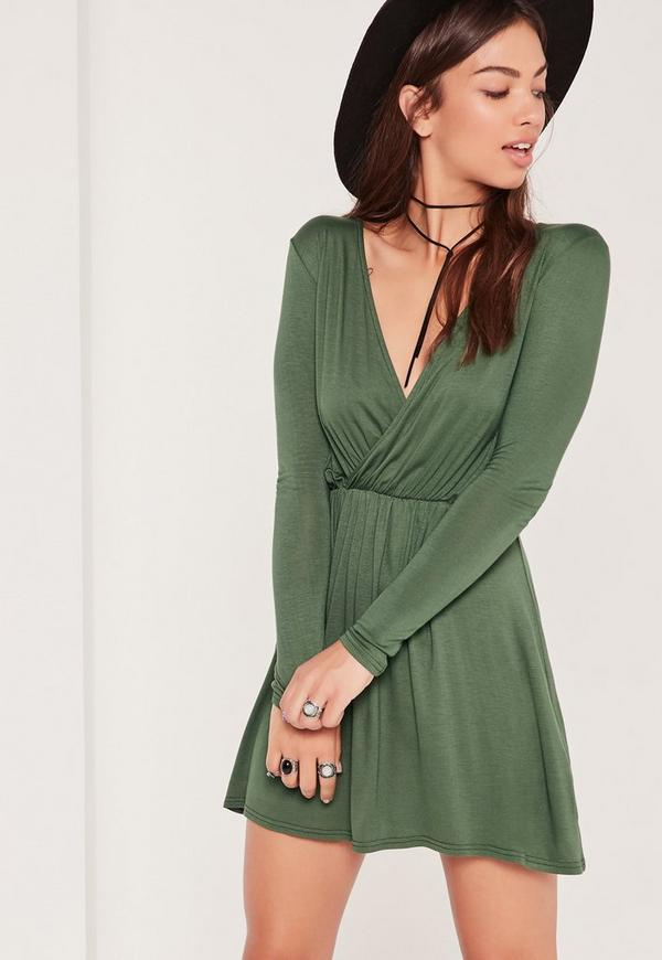 Wrap Long Sleeve Skater Dress Green