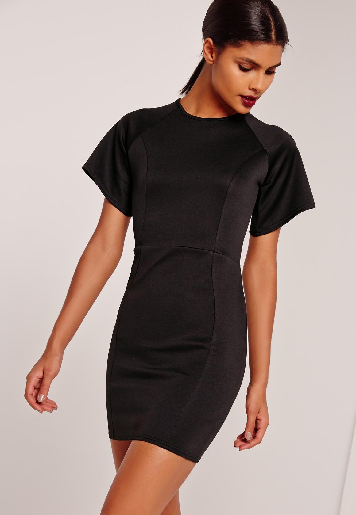 Kimono Sleeve Bodycon Scuba Dress Black