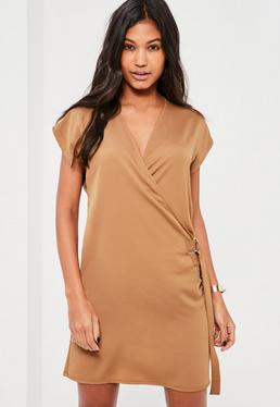 Nude D Ring Wrap Front Mini Dress
