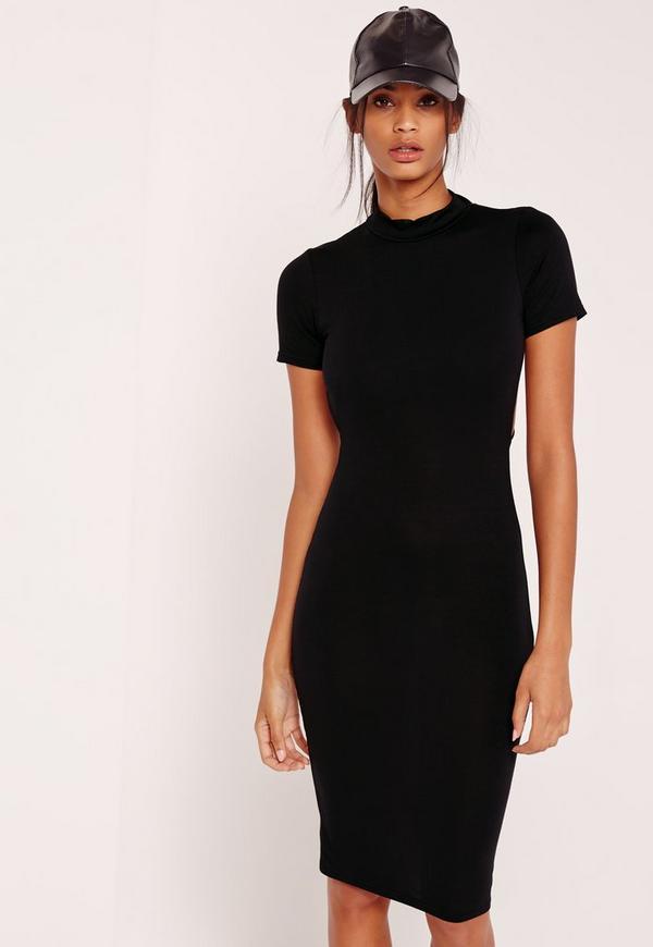 Wrap Back Midi Dress Black