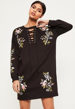 Black Embroidered Lace Up Jumper Dress