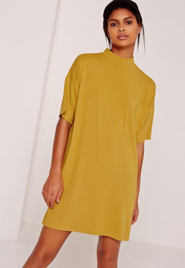 Ribbed Pocket Dress Yellow