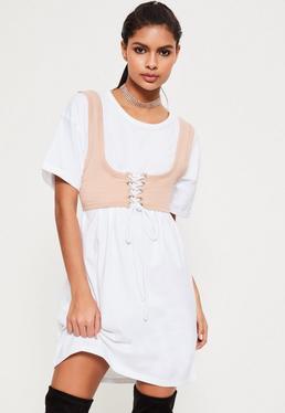 Robe oversize blanche avec corset