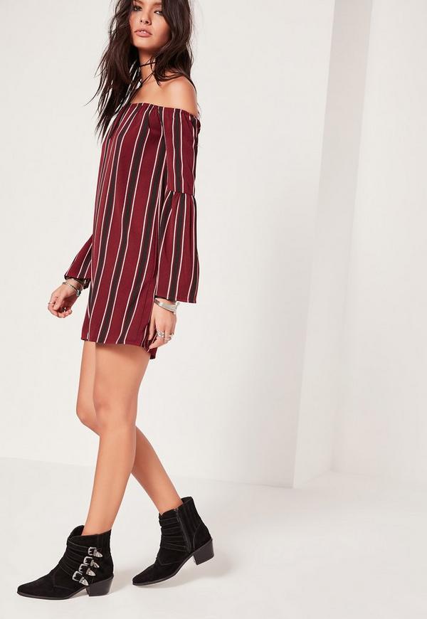 Stripe Bardot Swing Dress Red