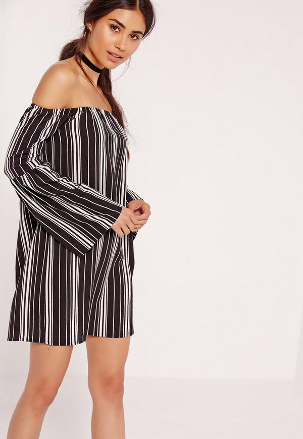 Stripe Bardot Swing Dress Black