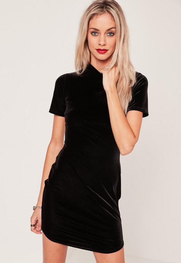 Velvet Curved Hem Dress Black