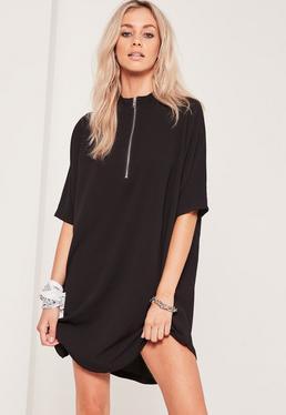 Black Oversized Zip Front Dress