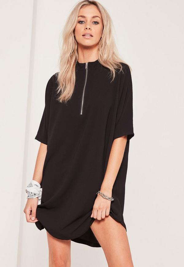 Black Oversized Zip Front Dress