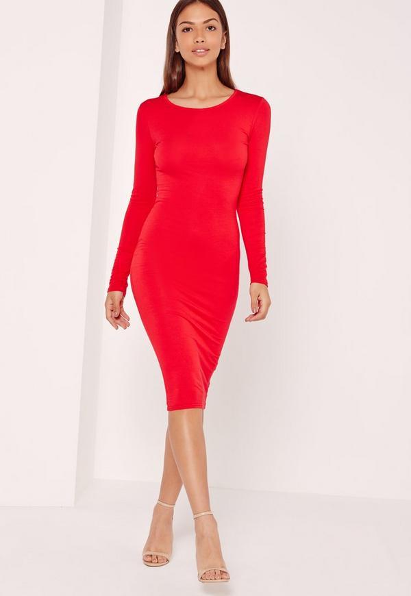 Long Sleeve Jersey Midi Bodycon Dress Red