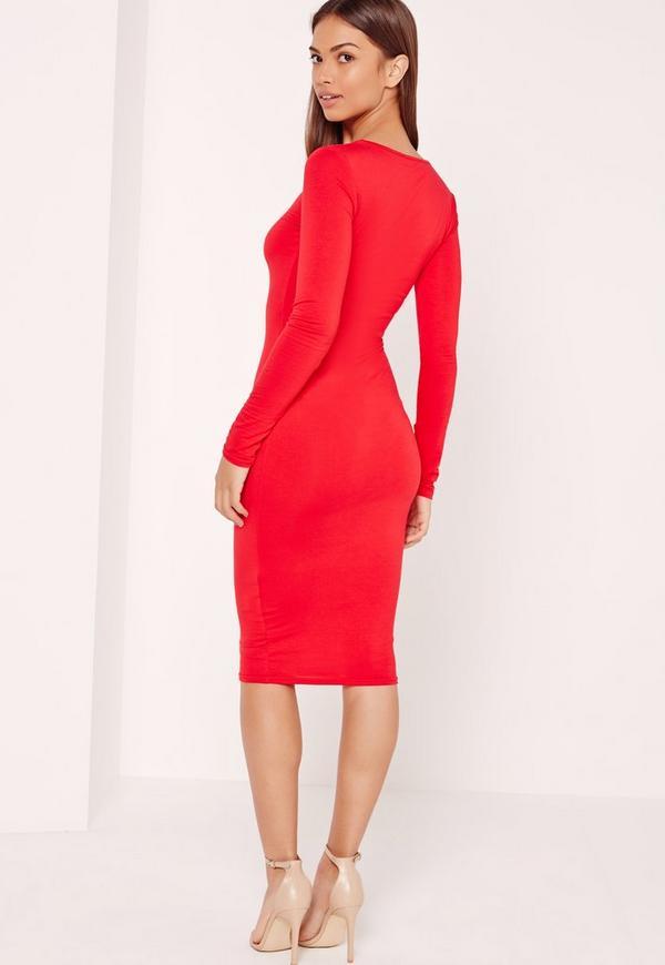 Red uk dress long sleeve bodycon