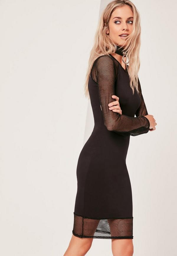 Fishnet Bodycon Midi Dress Black