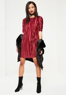 Burgundy Pleated Crinkle T Shirt Dress