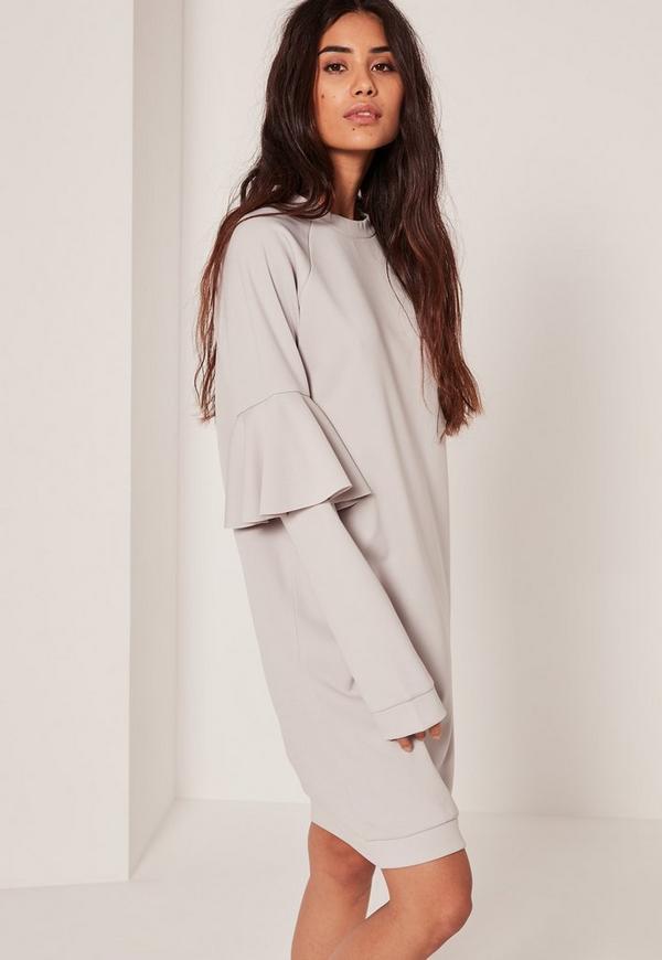 Grey Scuba Frill Sleeve Sweat Dress