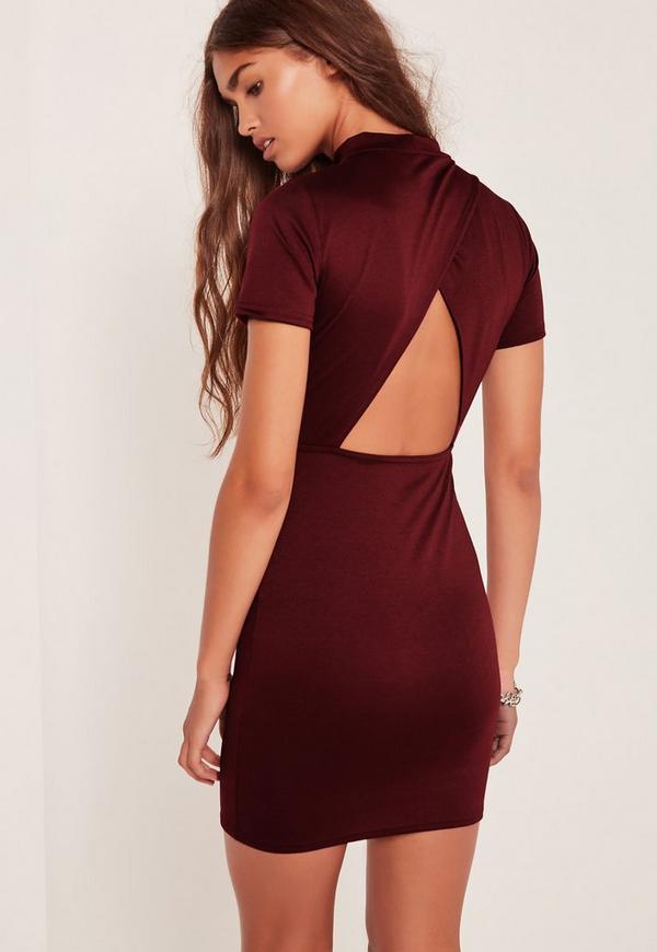 Open Back High Neck Bodycon Dress Burgundy