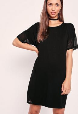 Mesh Diagonal Panel T Shirt Dress Black