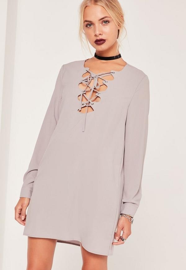 scallop front lace up shift dress grey