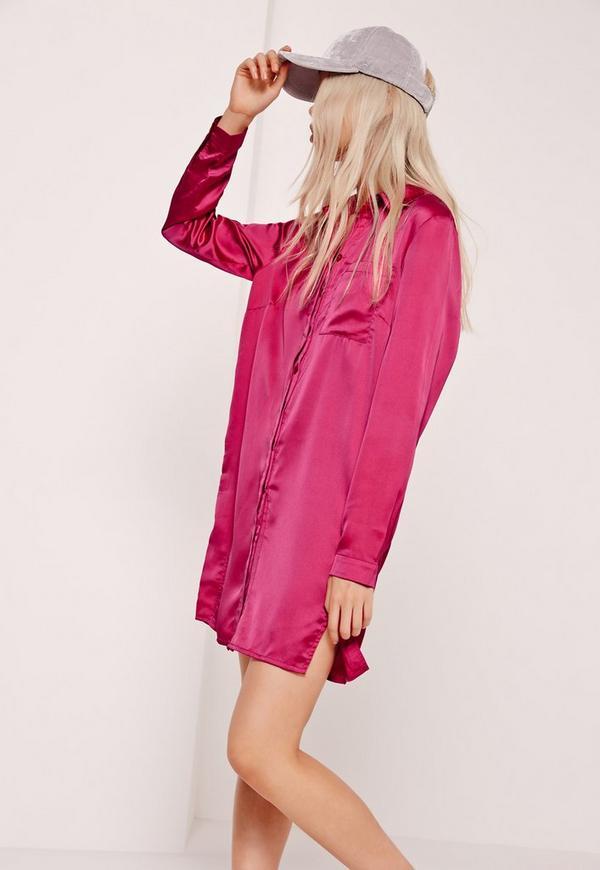 Pink Satin Front Split Shirt Dress