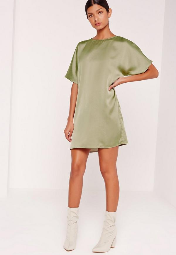 Satin Shift Dress Green