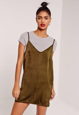 Rib 2 in 1 satin shift dress
