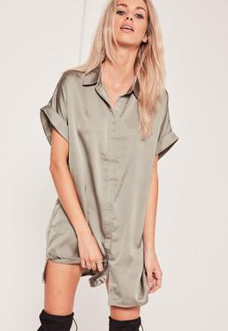 Satin Short Sleeve Shirt Dress Green