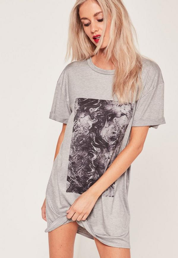 Monochrome Marble Print Dress Grey