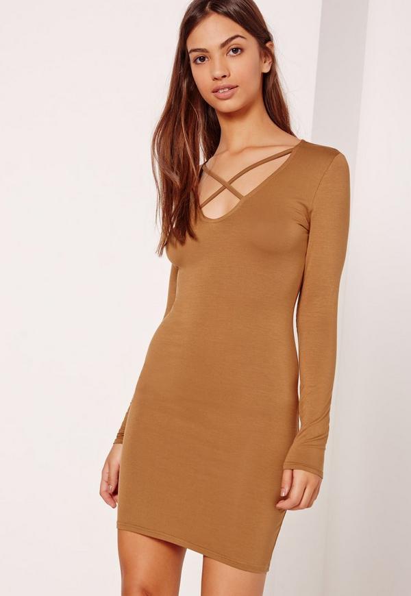 Cross Front Long Sleeve Dress Tan