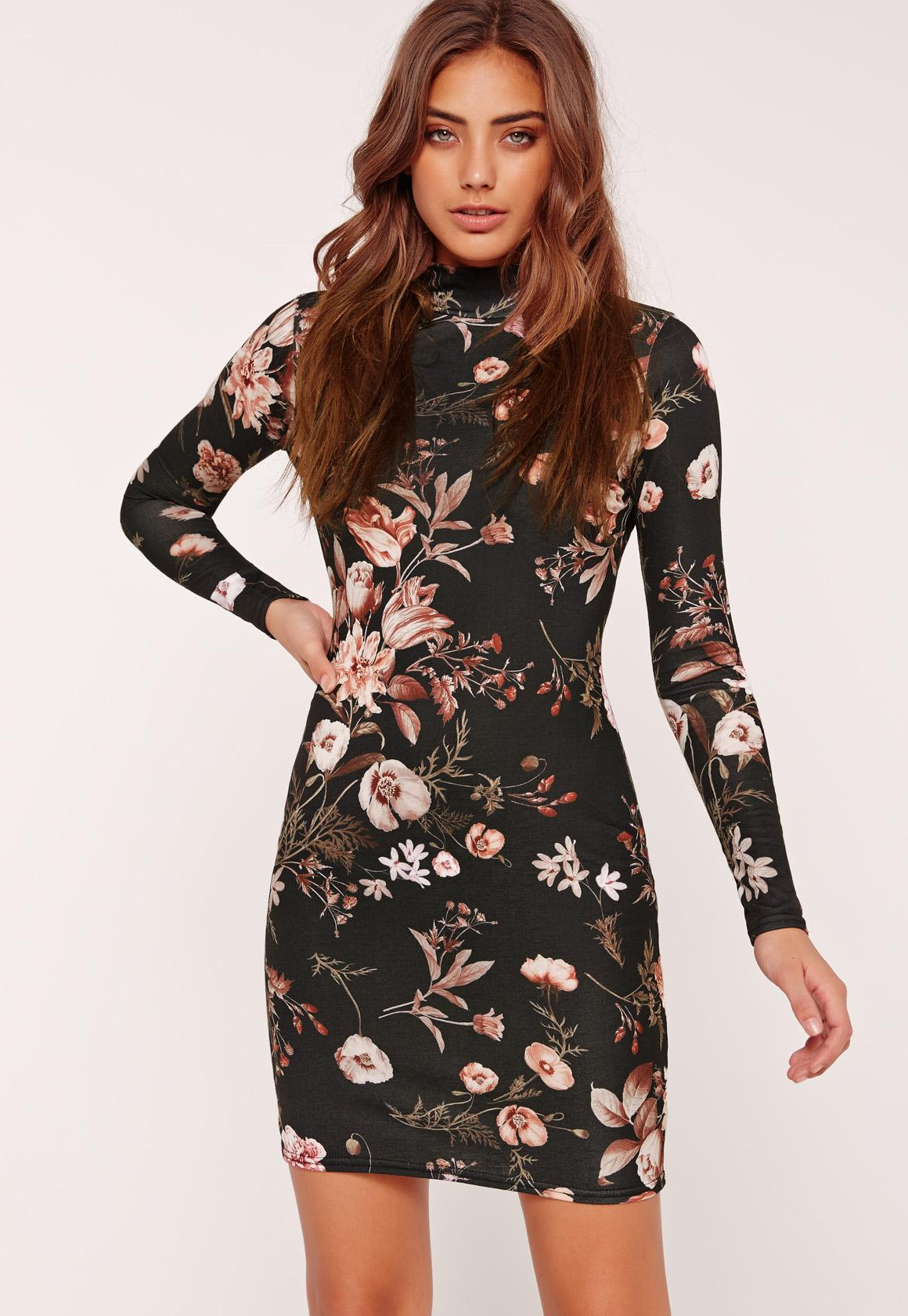 Floral High Neck Long Sleeve Bodycon Dress Black | Missguided