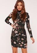 Hochgeschlossenes figurbetontes Kleid mit langen Ärmeln und Blumenprint in Schwarz