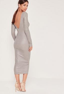 Metallic Low Back Midi Dress Silver