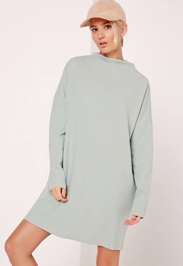 Curve Neck Sweater Dress Green