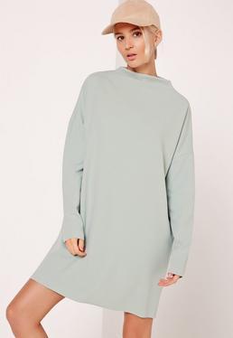 Green Curve Neck Sweater Dress