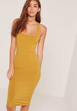 Vestido ajustado de canalé con tira en la espalda amarillo