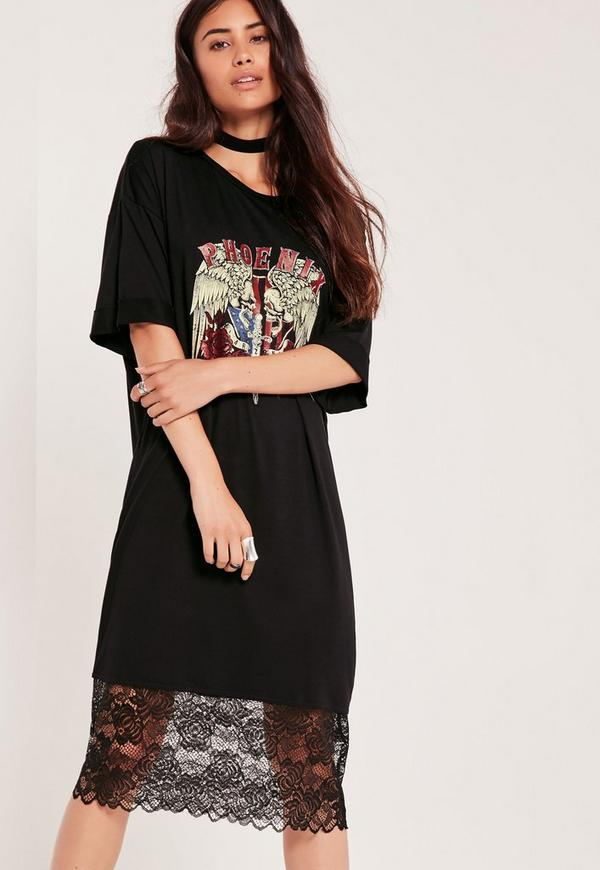 Printed Graphic Rock Lace Bottom Dress Black