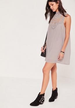 Crochet Top Tie Waist Swing Dress Grey