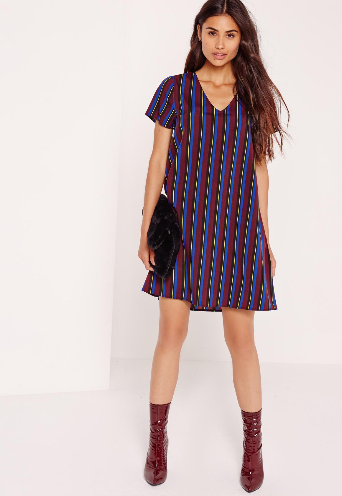Burgundy Multi Stripe V Neck Shift Dress