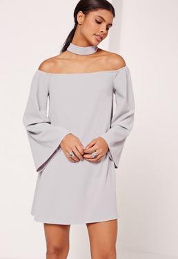 Choker Neck Bardot Swing Dress Grey