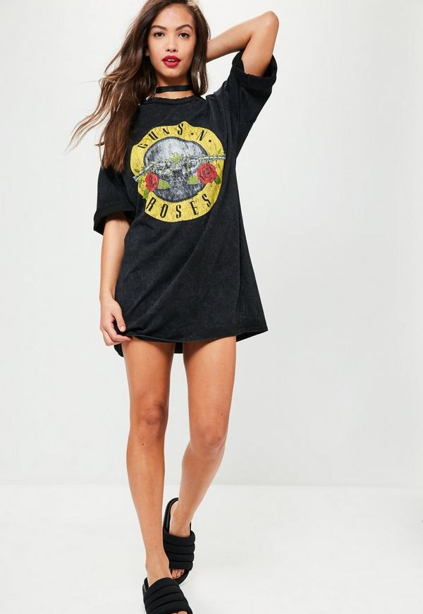 Guns N Roses T Shirt Dress Black Missguided